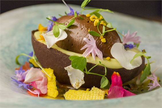 Avocado and chocolate mousse at Lima London