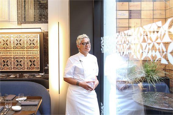 Monica Galetti in her restaurant Mere