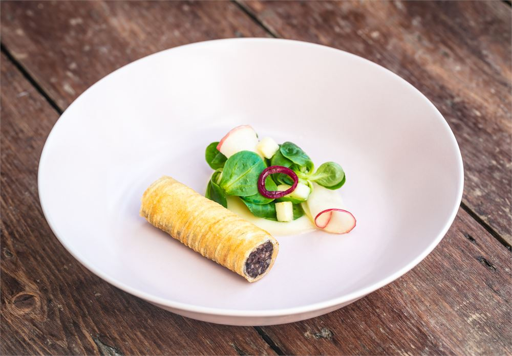 Potato-wrapped Clonakilty black pudding with Cox apple purée at Myrtle