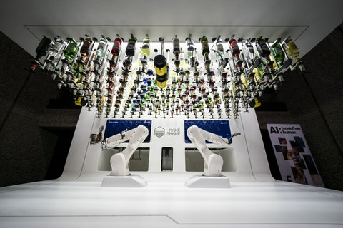 The Barbican hosted a cocktail making competition where humans competed against robots