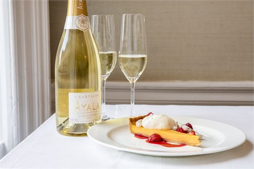 Ayala Blanc de Blancs with lemon tart