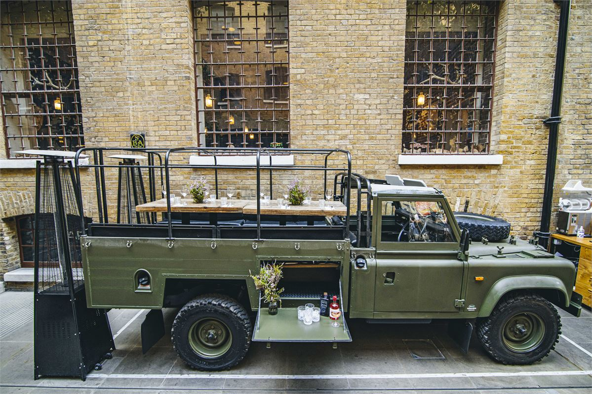 You can dine inside an open-top Land Rover at this London restaurant