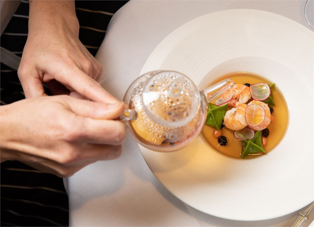 Langoustine consomme at Le Gavroche