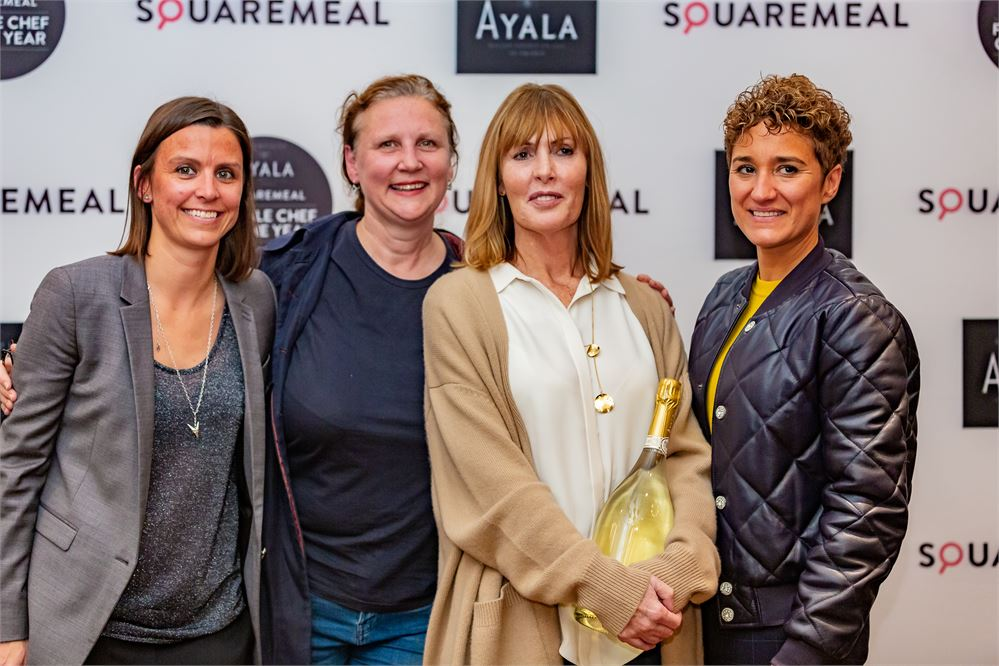 Pip Lacey, Angela Hartnett, Skye Gyngell and Nieves Barragan Mohacho at the 2019 Ayala SquareMeal Female Chef of the Year award