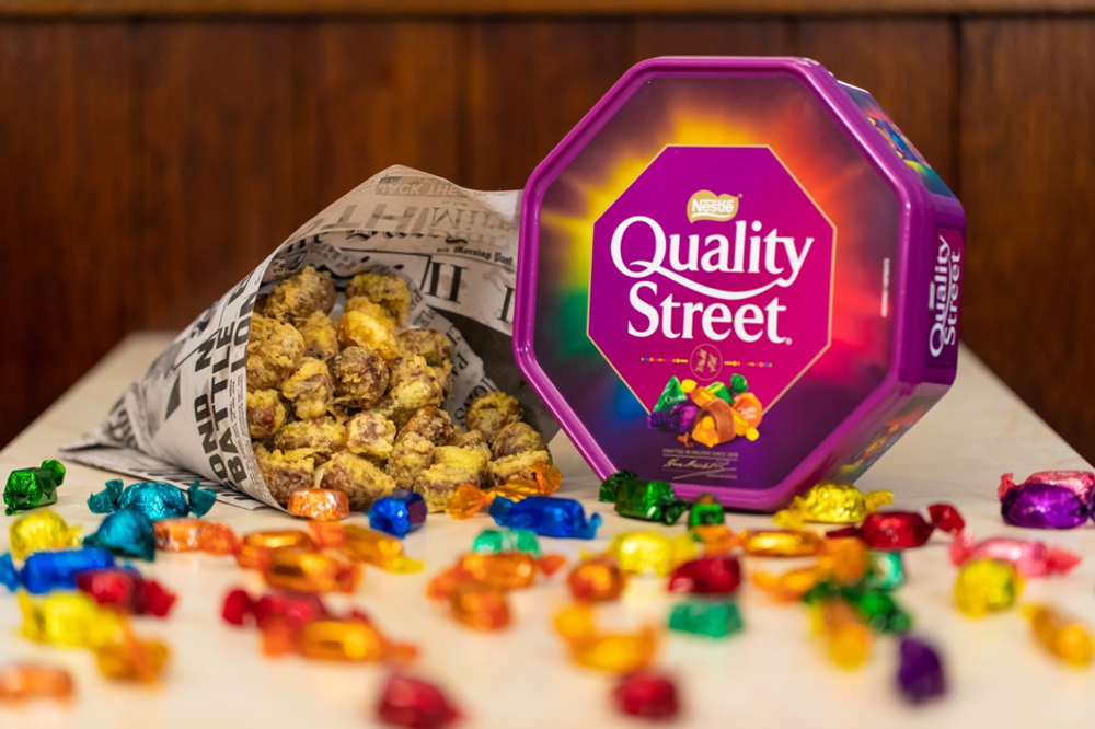 A famous London chippy will serve battered Quality Street this Christmas