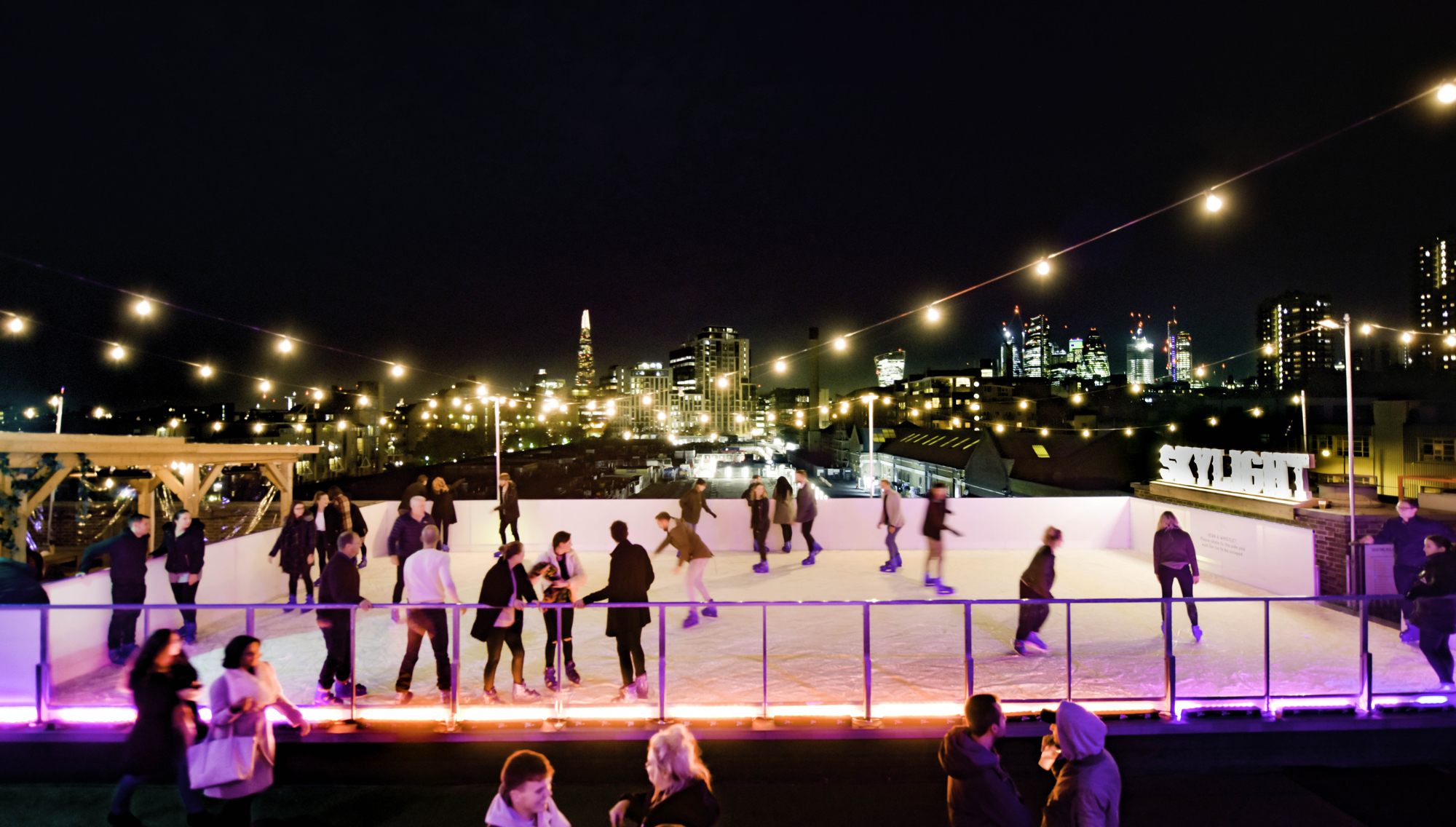 Skylight at Tobacco Dock Christmas festive season skate rink corporate group bookings christmas parties