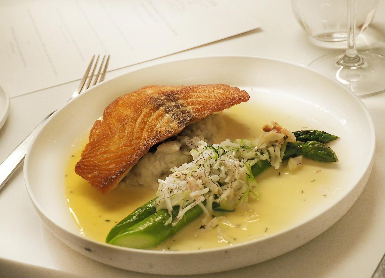 Royal Ascot Phil Howard Elystan Street preview dinner salmon main dish table setting