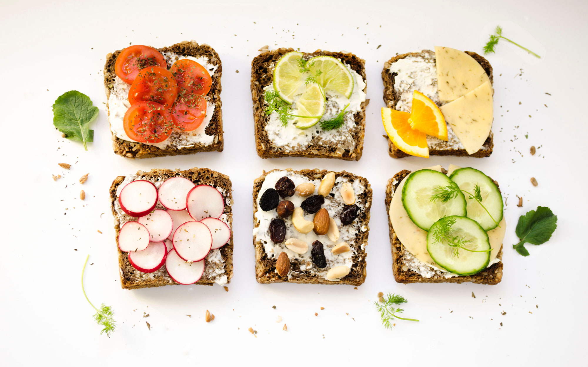 Healthy eating trend in conference food openface sandwiches credit ola mishchenko