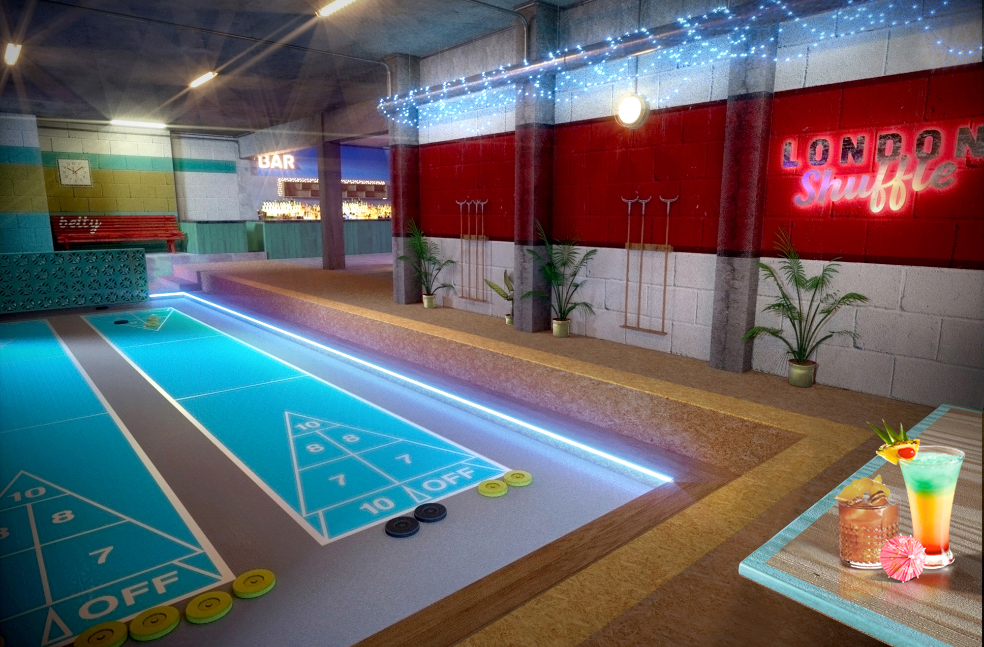 London Shuffle Club Shoreditch venues events private hire group bookings summer parties shuffleboard