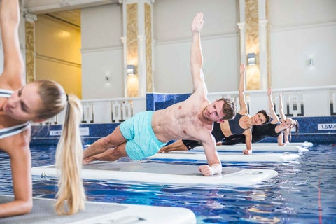 Make waves with this water fitness teambuilding class