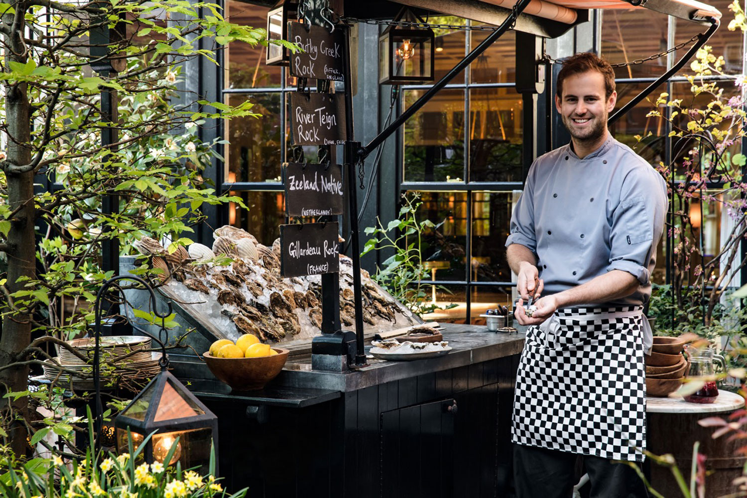 Oyster cart in garden of Chiltern Firehouse