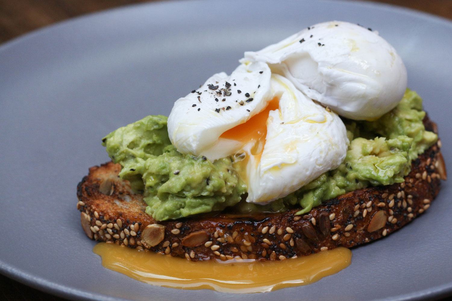 poached eggs and avocado at galvin hop for mothers day in London