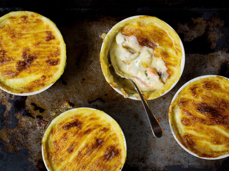 J Sheekeu fish pie with mashed potato bowls