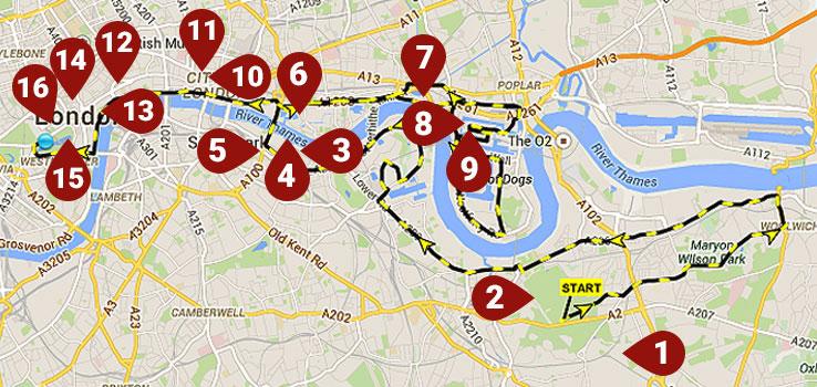 London marathon 2015 route map restaurants bars pubs