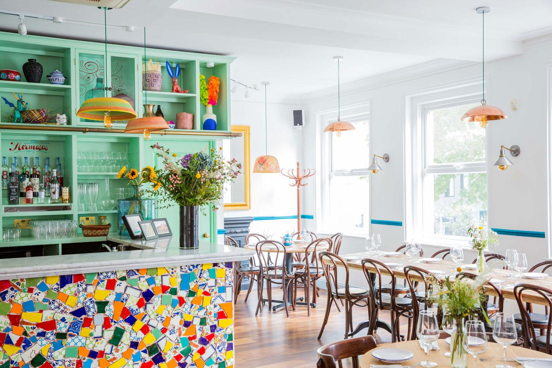 rainbow tiles green cupboard