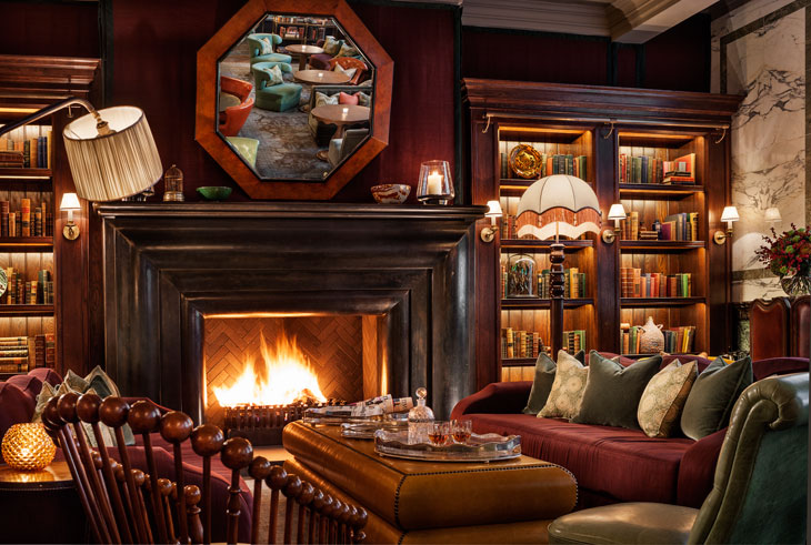 Scarfes Bar at Rosewood Covent Garden Fireplace