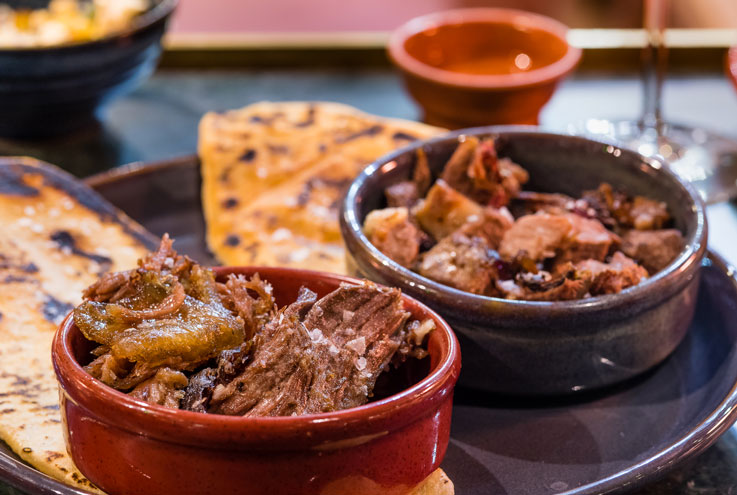 Meat dishes at Temper restaurant in Soho, London