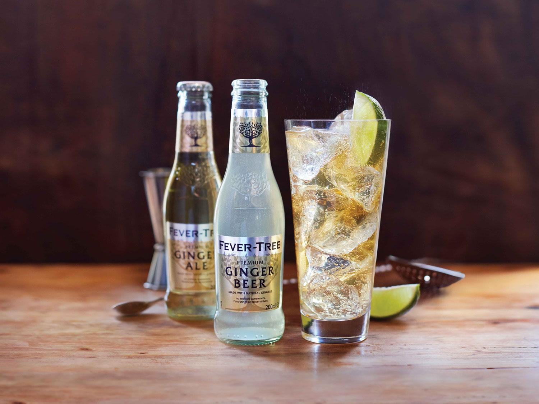 Fever Tree mixers ginger beer bottles glass drink
