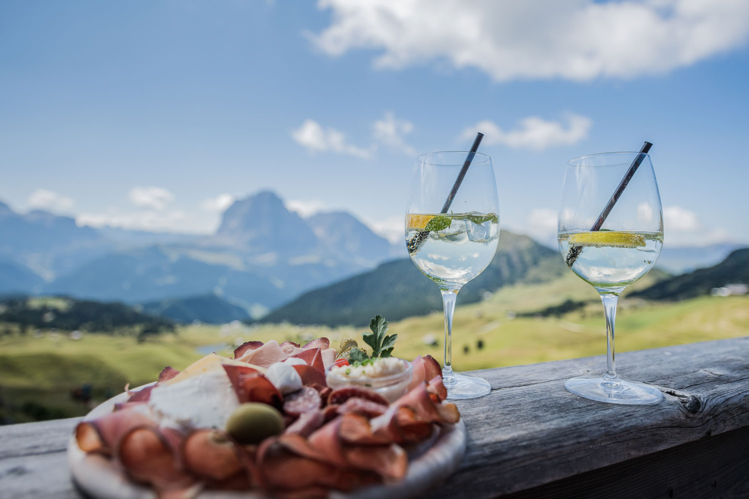 South Tyrol food plate with view in background