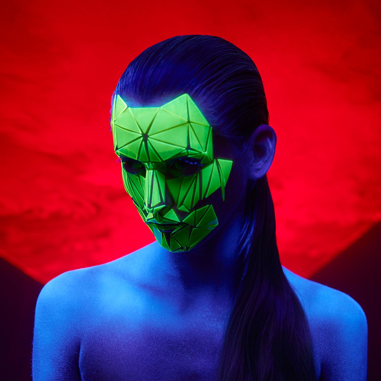 neon cat mask