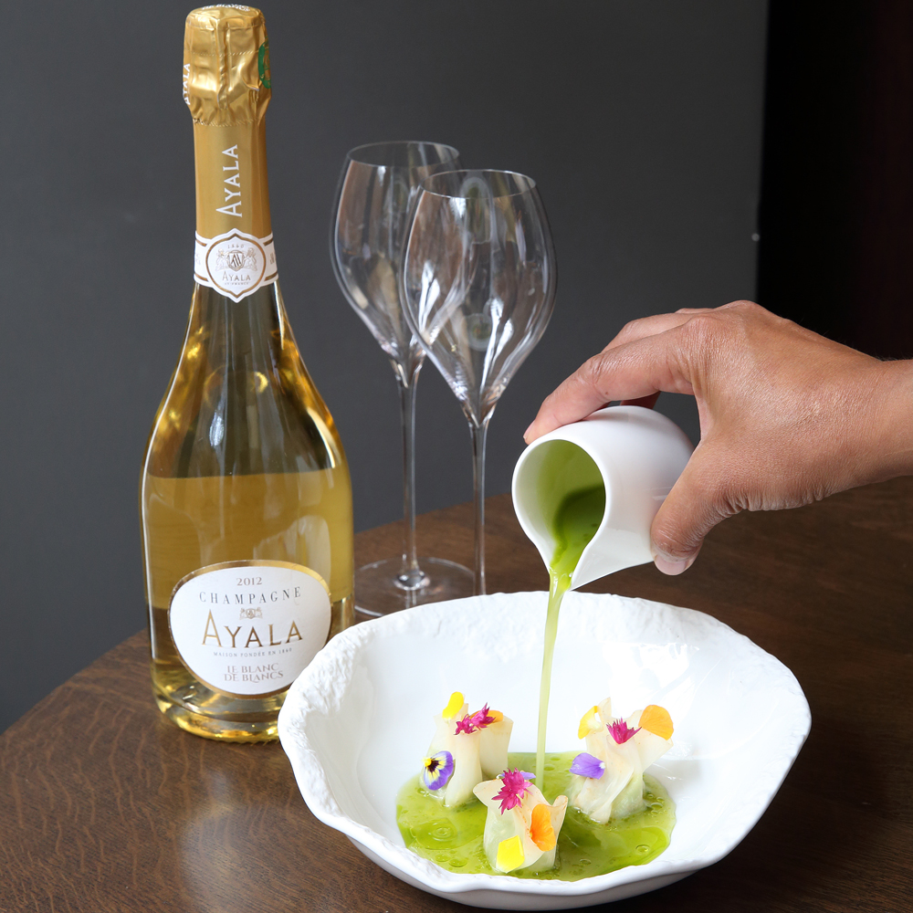 Monica Galetti Mere restaurant Champagne with vegetable dish
