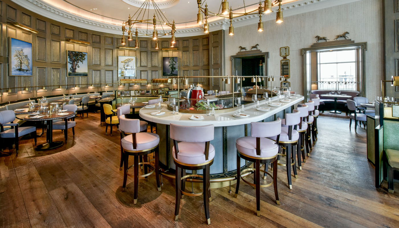 Roux at the Landau dining room with counter seating area