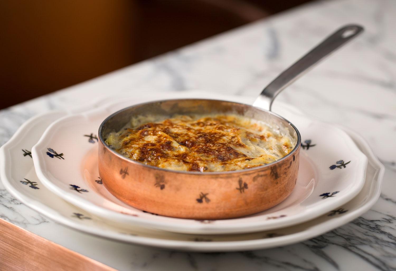truffle tagliolini grey marble copper pan