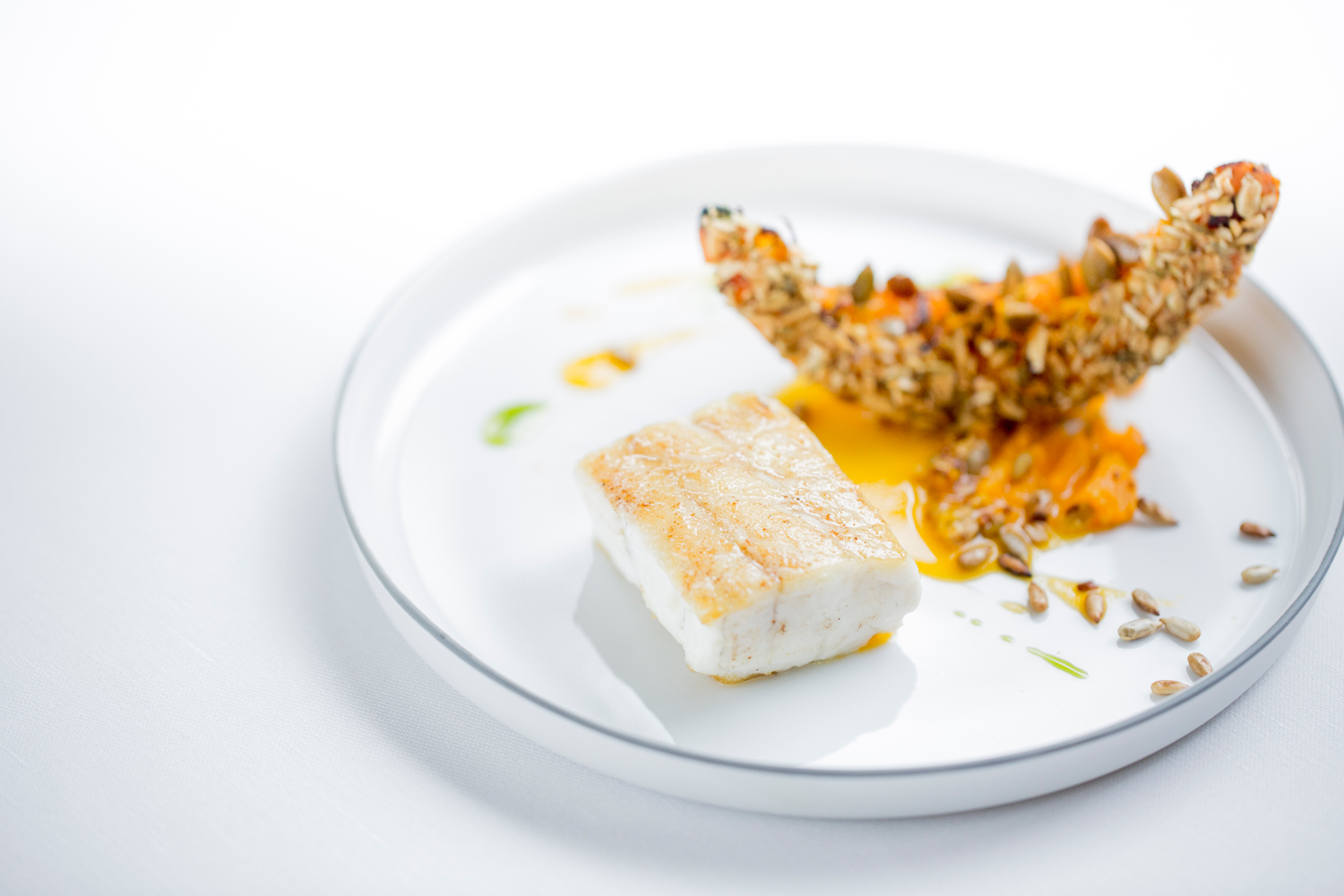 Seabass and pumpkin christmas day at Alain Ducasse