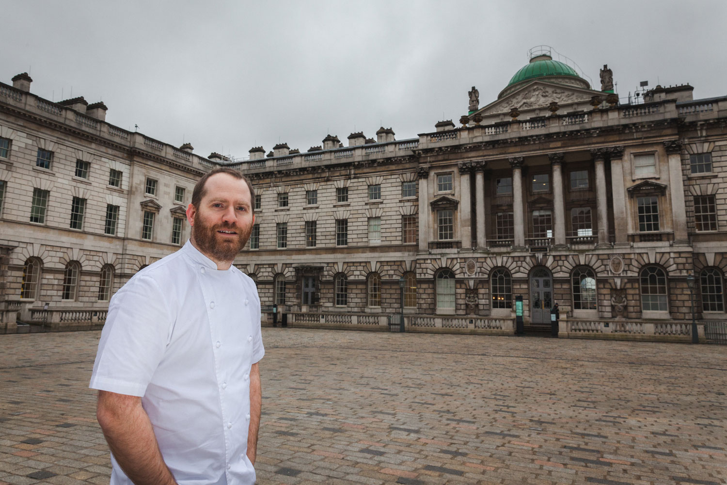Bryn Williams chef outside Somerset House London