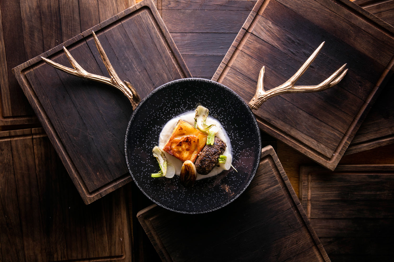 Butlers Wharf Chophouse meat dish wooden chopping boards antlers