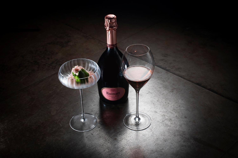 Ruinart Champagne dinner bottle glasses sweet