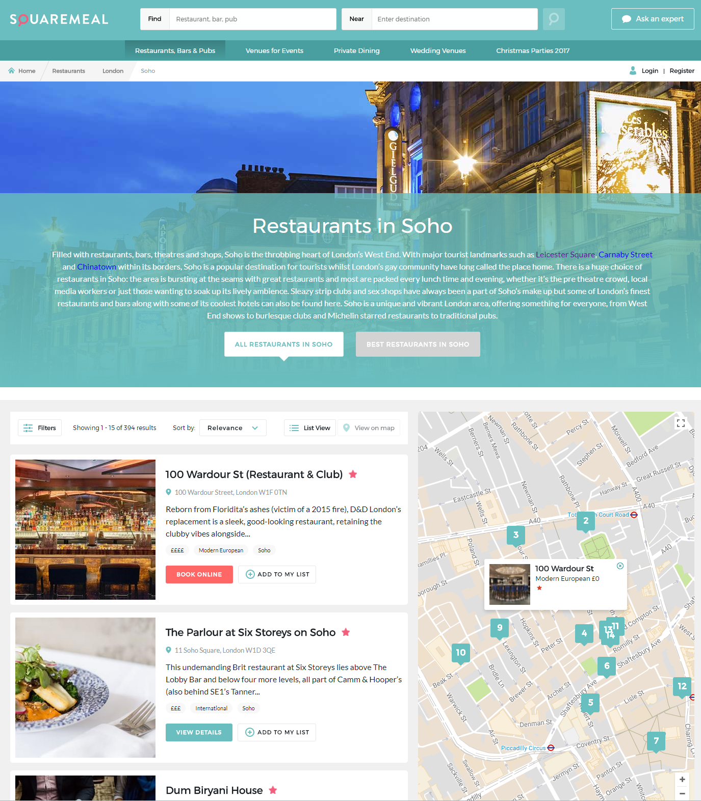 SquareMeal website restaurant bar venue event reviews news