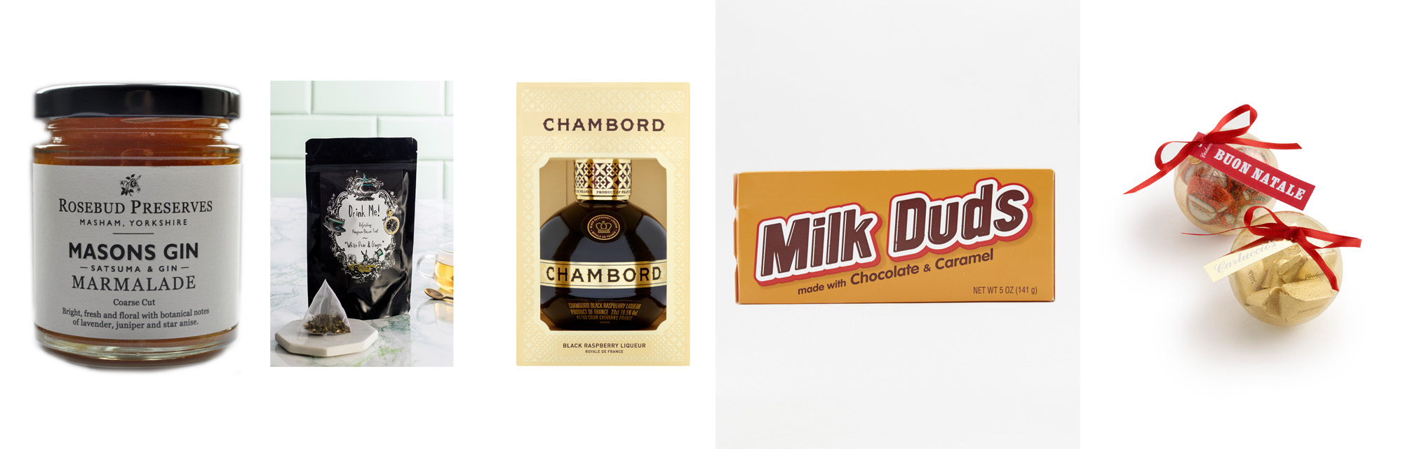 Food and drink goodie bag milk duds chocolate Chambord gin jam hangover rescue tea