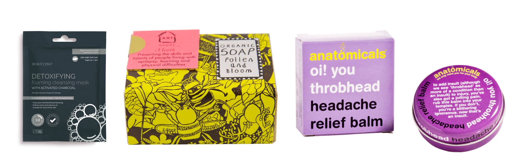 Healthy and beauty goodie bag products face mask soap headache relief balm