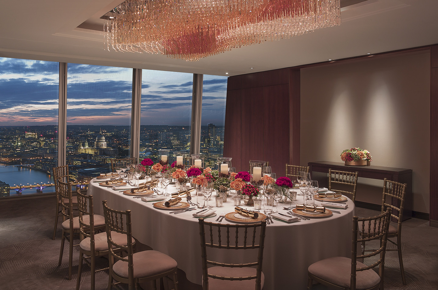 Christmas parties at Shangri La at The Shard London venue hire private dining room view of city