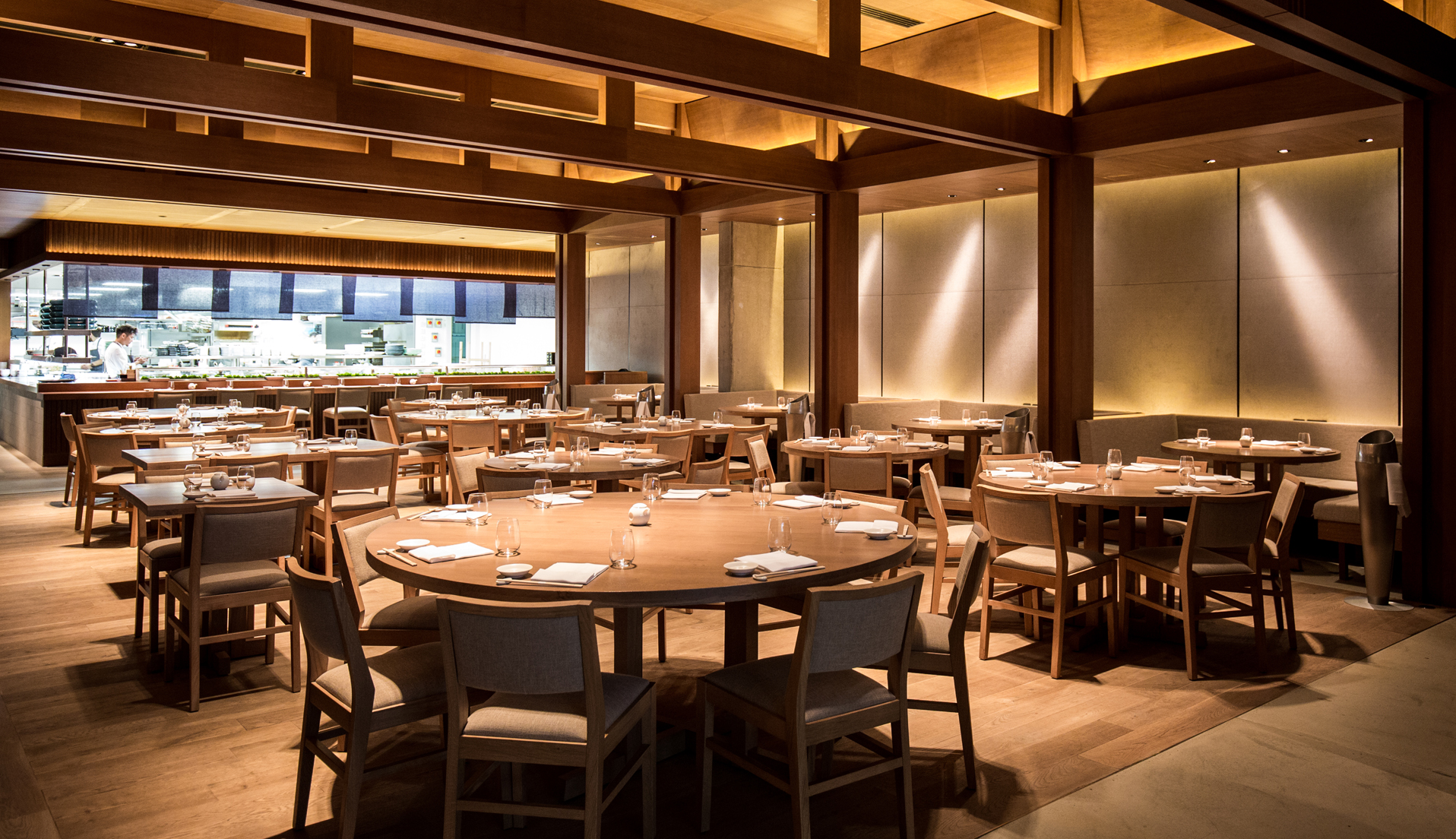 Nobu Shoreditch london hotels restaurants dining room corporate hire events chefs cool arty designer interiors wooden beams glowing lighting