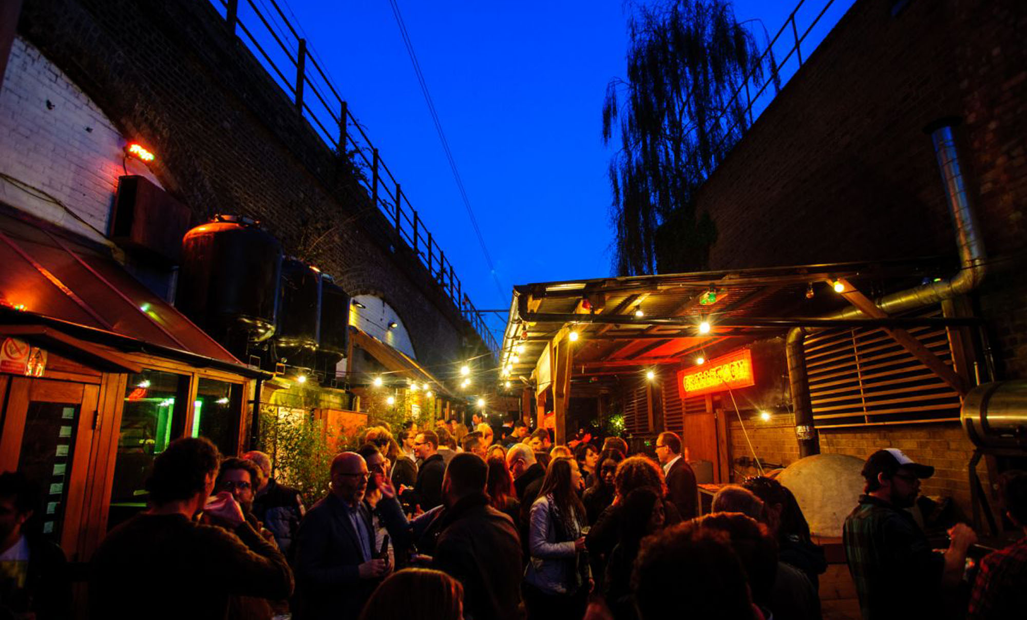 Londonfields brewery event space nightclub venue outside smoking area Christmas party vibes