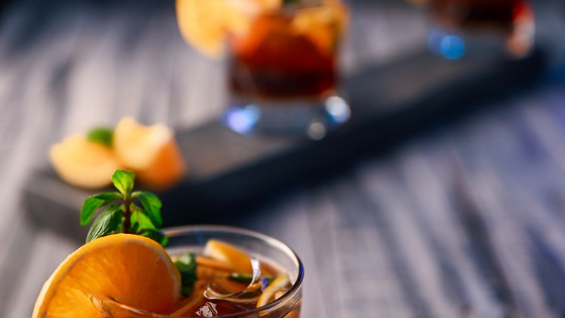 Peach and Basil Old Gin Fashioned