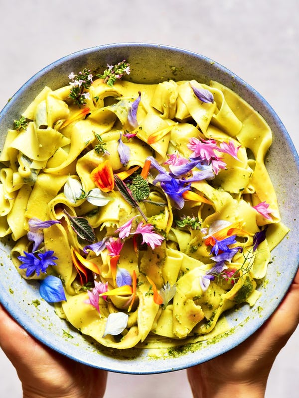 Pappardelle Floral Pasta with Basil Pesto