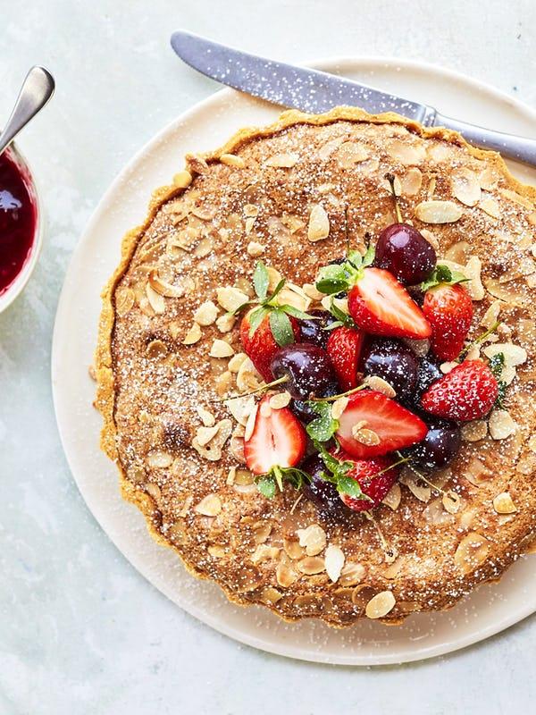 Cherry and Raspberry Bakewell Tart