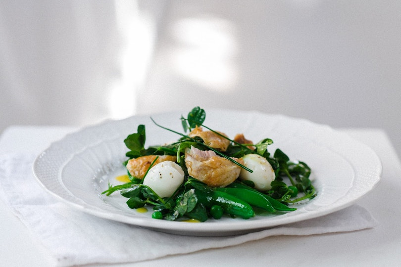 Summer Pea Salad with Soft Boiled Quail Eggs